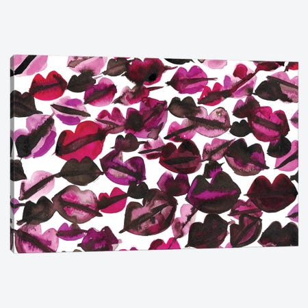 Black Pink Lips Canvas Print #KHR177} by Kahri Canvas Artwork