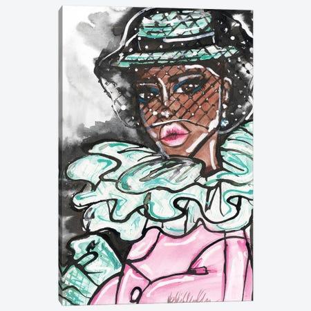Aqua Ruffle Girl Canvas Print #KHR190} by Kahri Canvas Print