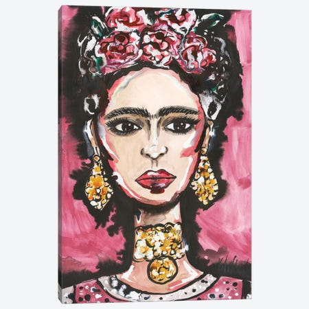 Frida Kahlo Portrait Canvas Print #KHR192} by Kahri Canvas Art Print
