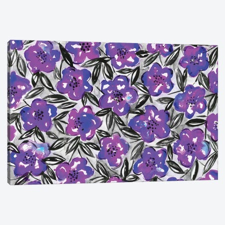 Blue Flowers & Leaves Canvas Print #KHR23} by Kahri Art Print