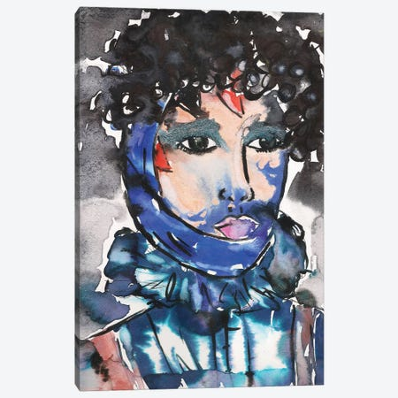 Blue Glitter Eyeshadow Girl Canvas Print #KHR24} by Kahri Canvas Art