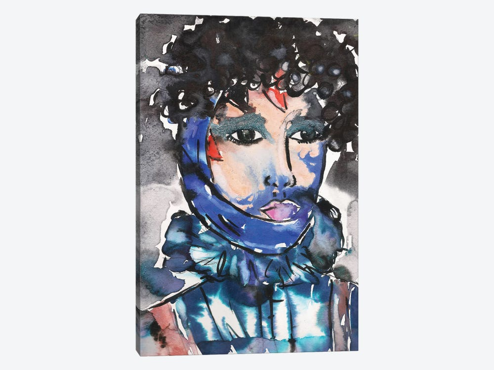 Blue Glitter Eyeshadow Girl by Kahri 1-piece Canvas Print