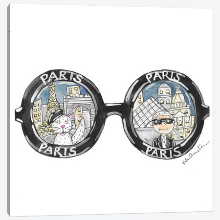 Paris Sunglasses Canvas Print #KHR253} by Kahri Canvas Artwork