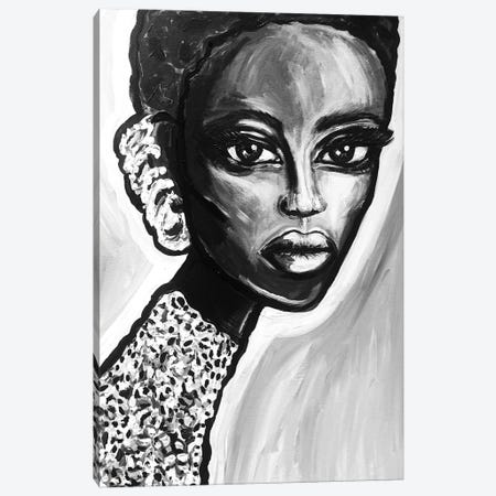 Bw Earring Girl Canvas Print #KHR258} by Kahri Canvas Art
