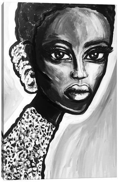 Bw Earring Girl Canvas Art Print
