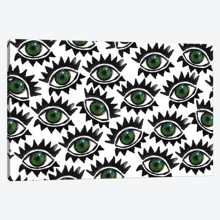 Green Eyes & Lashes Canvas Print #KHR64} by Kahri Canvas Wall Art