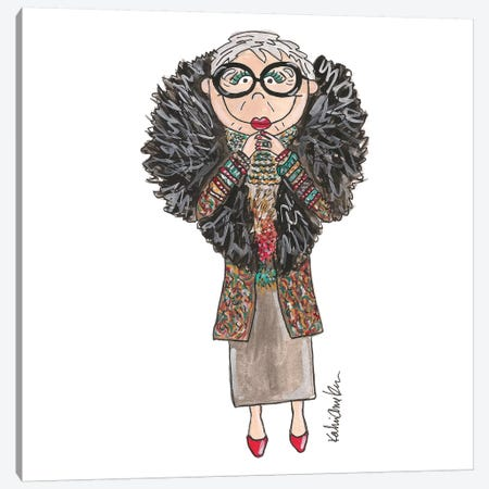 Iris Apfel Canvas Print #KHR65} by Kahri Canvas Artwork