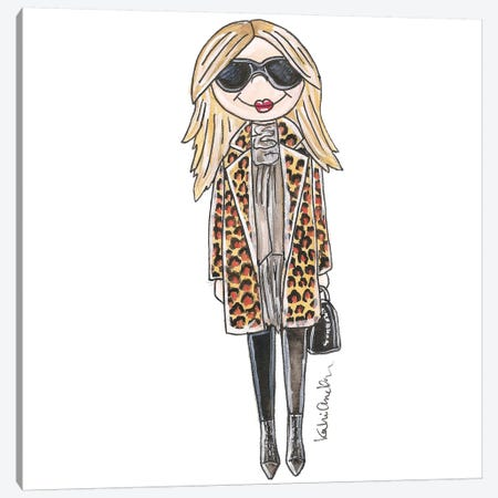 Kate Moss, Leopard Print Jacket Canvas Print #KHR82} by Kahri Canvas Art Print