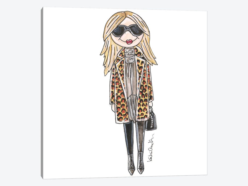Kate Moss, Leopard Print Jacket by Kahri 1-piece Canvas Art Print