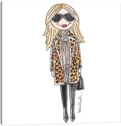 Kate Moss, Leopard Print Jacket Canvas Art Print