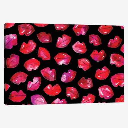 Lips On Black Canvas Print #KHR86} by Kahri Canvas Artwork