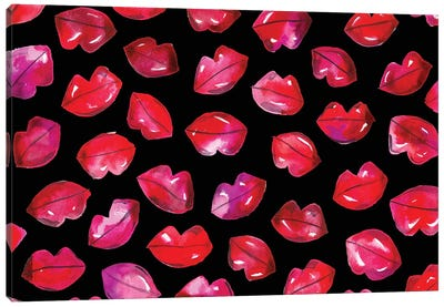 Lips On Black Canvas Art Print