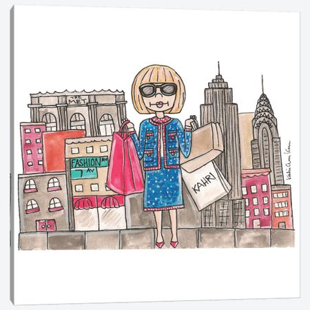 Anna Wintour In NYC Canvas Print #KHR8} by Kahri Art Print