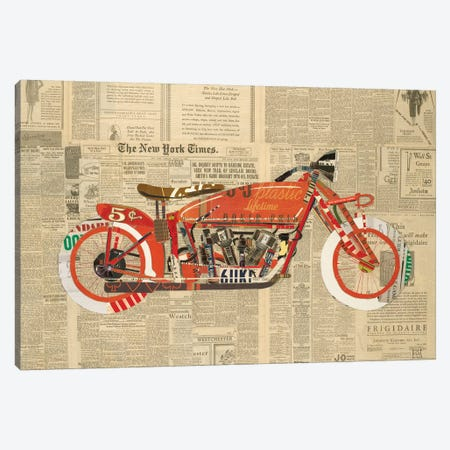 Vintage Red Canvas Print #KHS31} by Kelsey Hochstatter Art Print