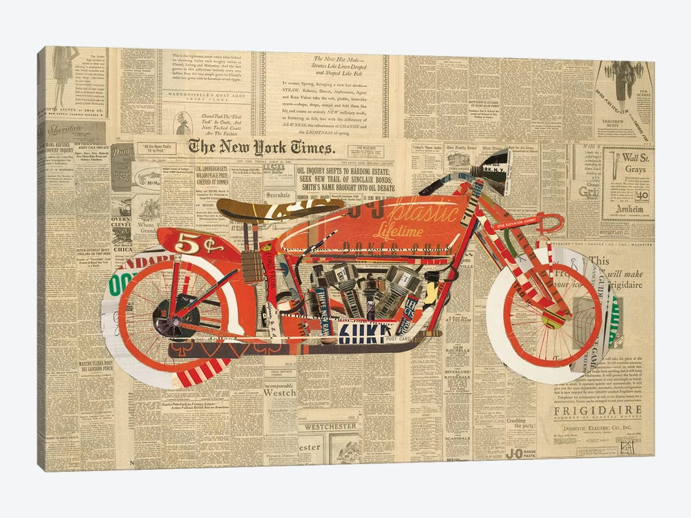 Vintage Red 1-piece Canvas Wall Art