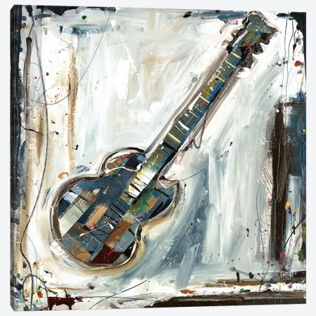 Imprint Guitar Canvas Print #KHS6} by Kelsey Hochstatter Art Print