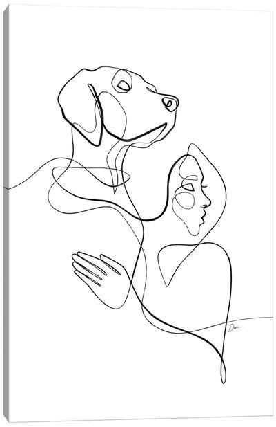Honor The Bond No. 5 / Dog & Woman Canvas Art Print
