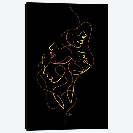 Femme Faces With One Line Canvas Print #KHY106} by Dane Khy Canvas Art