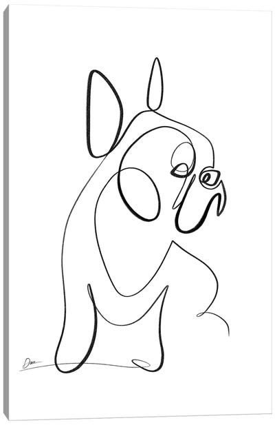 French Bulldog With One Line Canvas Art Print