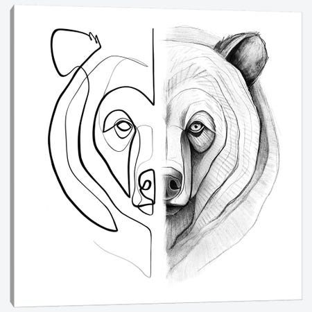 Distinct Bear Canvas Print #KHY15} by Dane Khy Canvas Art