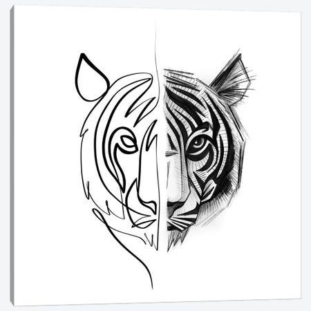 Distinct Tiger Canvas Print #KHY19} by Dane Khy Canvas Art Print