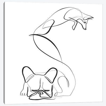 Fox and Frenchie Canvas Print #KHY22} by Dane Khy Canvas Artwork