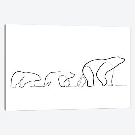 One Line Polar Bears Canvas Print #KHY37} by Dane Khy Canvas Artwork