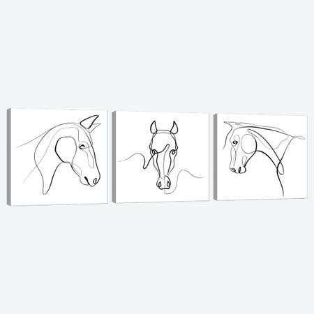Horse Triptych Canvas Print Set #KHY3HSET001} by Dane Khy Canvas Print