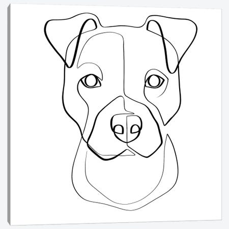 Pittie Pup Canvas Print #KHY42} by Dane Khy Canvas Wall Art