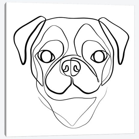 Pug Canvas Print #KHY43} by Dane Khy Canvas Art