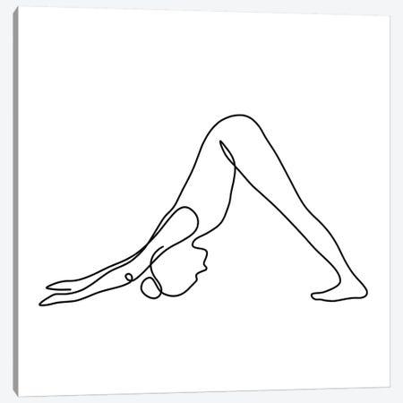 Yoga Downward Dog Square 3-Piece Canvas #KHY56} by Dane Khy Canvas Art