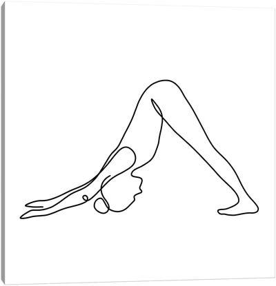 Yoga Downward Dog Square Canvas Art Print