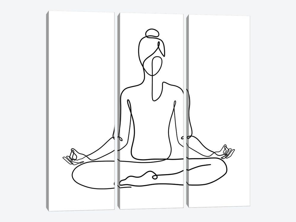 Yoga Namaste Square by Dane Khy 3-piece Canvas Print