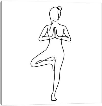 Yoga Tree Pose Square Canvas Art Print