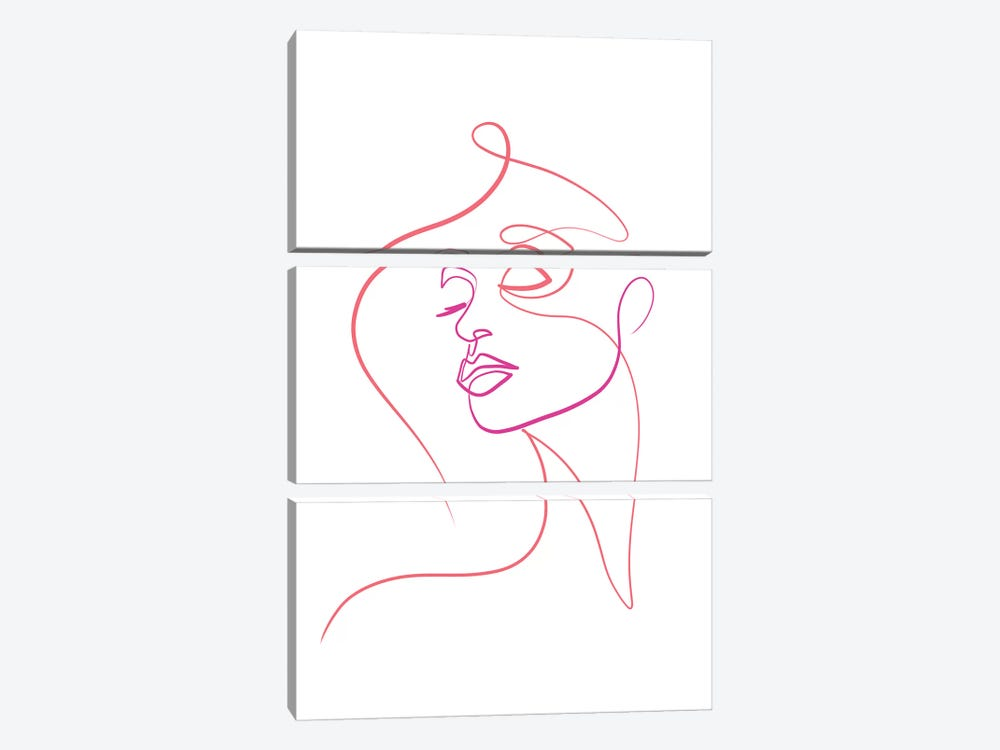 Femme Face I by Dane Khy 3-piece Canvas Wall Art