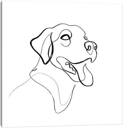Black And Brown Lab Dog Canvas Art Print