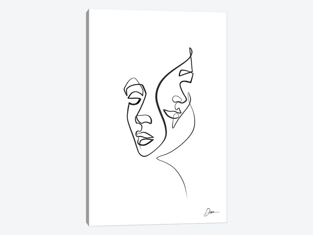 Abstract One Line Faces by Dane Khy 1-piece Art Print