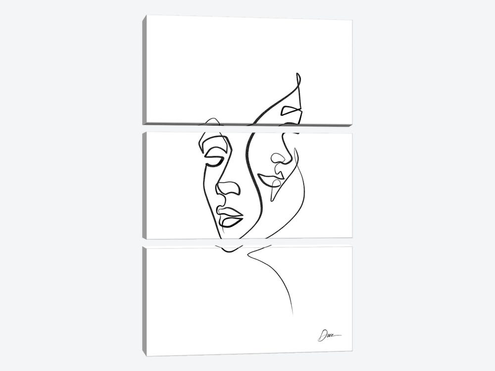 Abstract One Line Faces by Dane Khy 3-piece Canvas Print