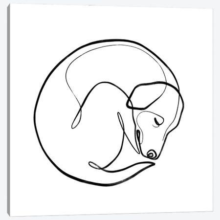 One Line Sleeping Dog Canvas Print #KHY97} by Dane Khy Canvas Artwork