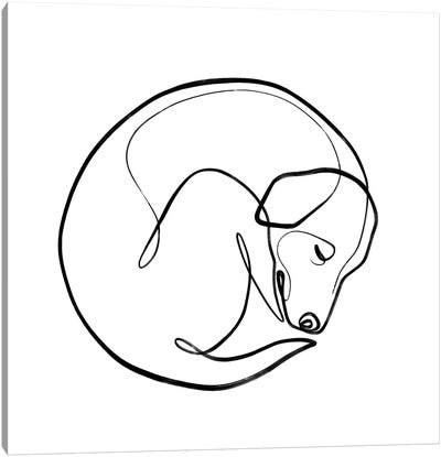 One Line Sleeping Dog Canvas Art Print