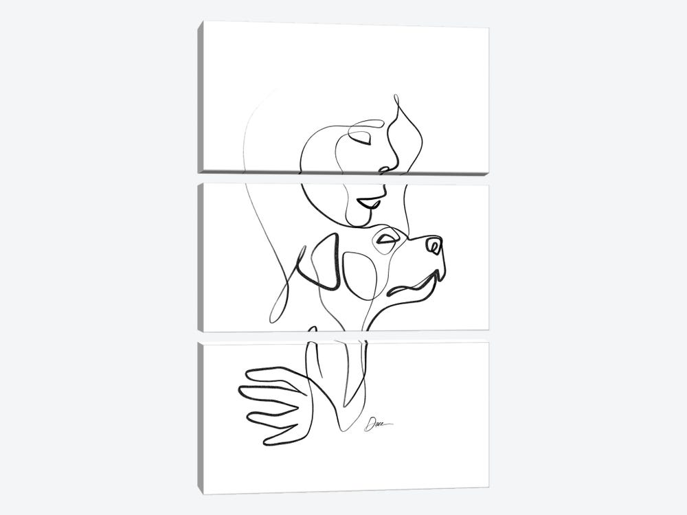 With Her Dog II by Dane Khy 3-piece Canvas Print
