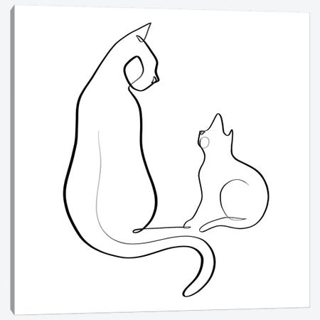 Cat and Kitten Canvas Print #KHY9} by Dane Khy Canvas Art