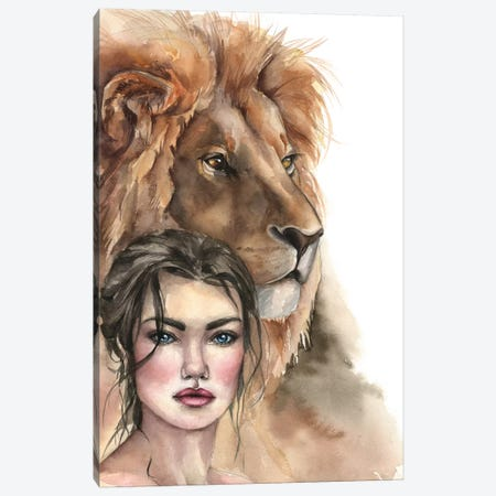 Lion And A Girl Canvas Print #KIB14} by Kira Balan Canvas Art