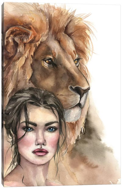 Lion And A Girl Canvas Art Print