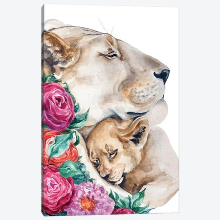 Lion's Family Canvas Print #KIB15} by Kira Balan Canvas Artwork