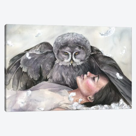 Owl Girl Canvas Print #KIB20} by Kira Balan Canvas Art