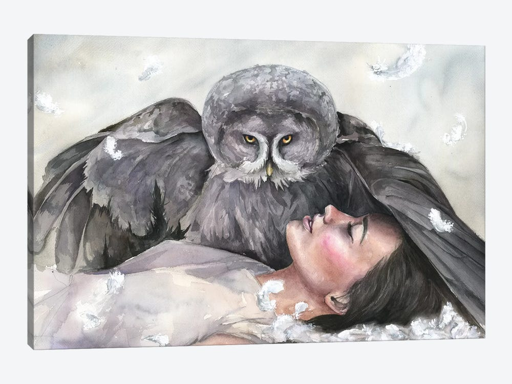 Owl Girl by Kira Balan 1-piece Canvas Artwork