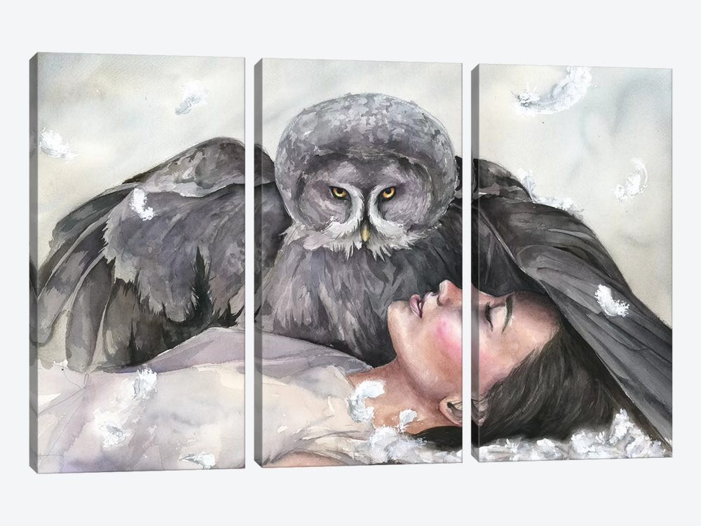 Owl Girl by Kira Balan 3-piece Canvas Artwork