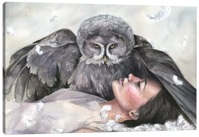 Owl Girl Canvas Art Print