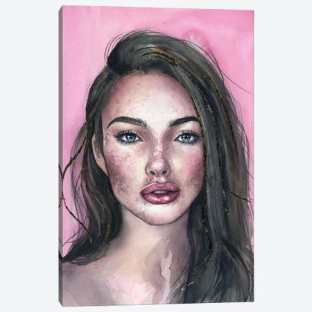 Pink Portrait Canvas Print #KIB25} by Kira Balan Art Print